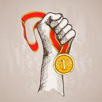 Main tenant la médaille
