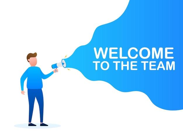 Main tenant un mégaphone avec bienvenue dans l'équipe. bannière mégaphone. création de sites web. illustration vectorielle