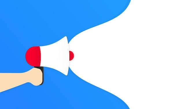 Main tenant un mégaphone avec un blanc vide pour votre message en discours de bulle. haut-parleur. annonce. publicité. vecteur eps 10. isolé sur fond blanc