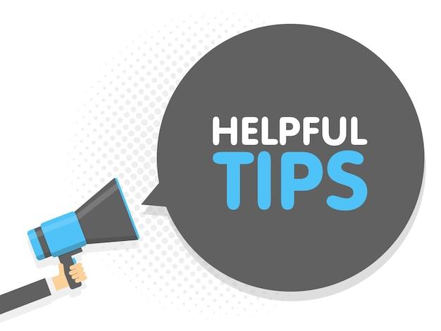Main tenant le mégaphone. conseils utiles pour le texte du signe de la parole. illustration vectorielle.