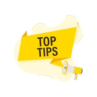 Main tenant le mégaphone - les meilleurs conseils. concept d'entreprise.