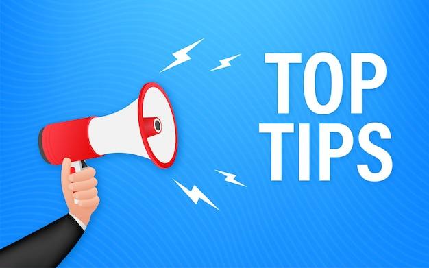 Main tenant le mégaphone - les meilleurs conseils. illustration vectorielle