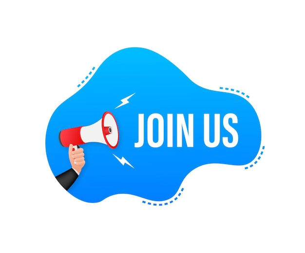 Main tenant un mégaphone avec rejoignez-nous. bannière mégaphone. création de sites web.