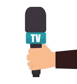 Main tenant le microphone tv nouvelles graphique
