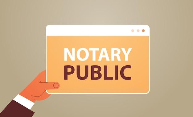 Main tenant le notaire public bannière web signature et légalisation des documents concept horizontal