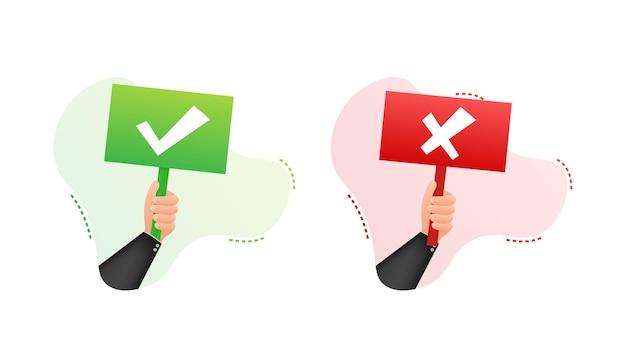 Main tenant la pancarte oui et non. illustration vectorielle de stock.