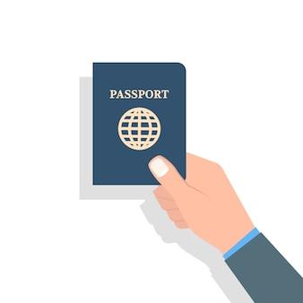Main tenant le passeport. voyage et tourisme et concept d'identification personnelle. illustration vectorielle.