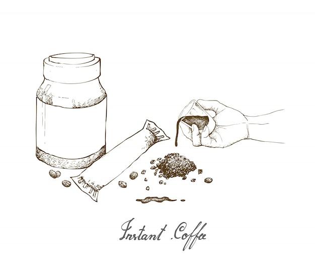 Main tenant une photo de café avec café instantané