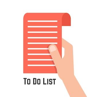 Main tenant rouge pour faire la liste