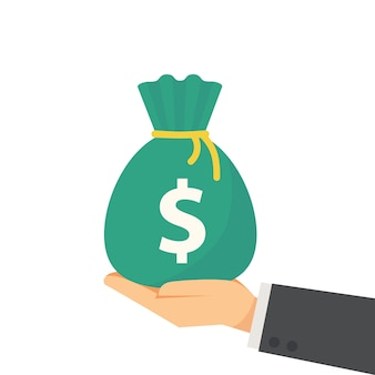 Main tenant le sac d'argent en illustration vectorielle style plat