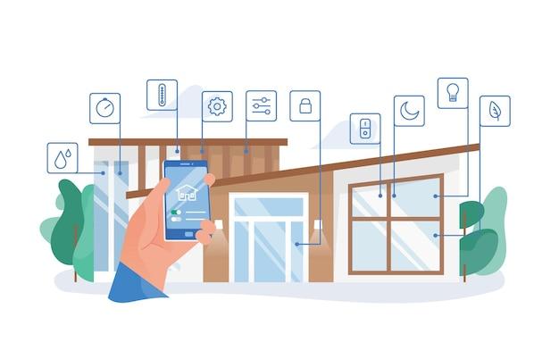 Main tenant un smartphone avec application mobile pour la domotique contre un immeuble résidentiel