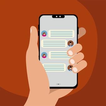 Main tenant le smartphone avec des bulles de chat sur illustration vectorielle écran