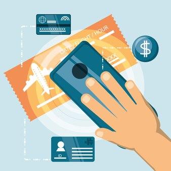 Main tenant un smartphone et une carte d'embarquement