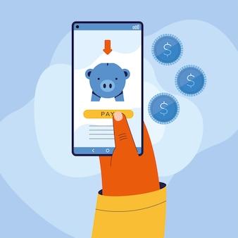 Main tenant un smartphone avec cochon de paiements en ligne