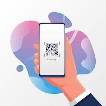 Main Tenant Le Smartphone Avec Code Qr. Technologie à Des Fins Commerciales. Vecteur Premium