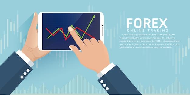 Main tenant le smartphone avec le commerce en ligne forex