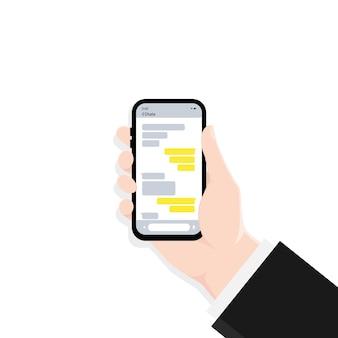 Main tenant le smartphone avec illustration de la fenêtre de message de dialogue