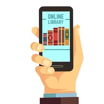 Main tenant un smartphone avec des livres