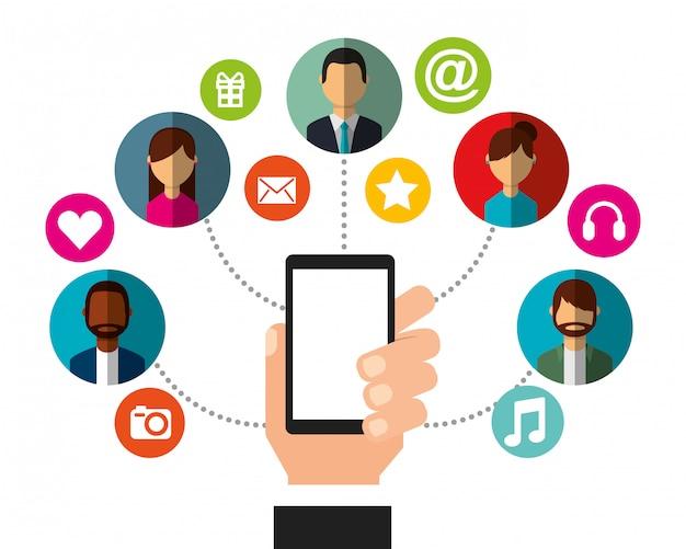 Main tenant smartphone personnes connexion médias sociaux