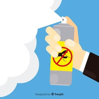 Main tenant un spray anti-moustique dans un style plat