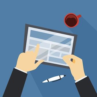 Main tenant la tablette tactile. technologie numérique moderne