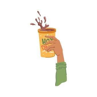 Main tenant une tasse de café ou de chocolat chaud vecteur
