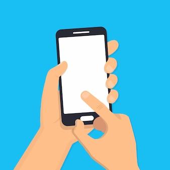 Main tenant le téléphone intelligent. design plat. illustration