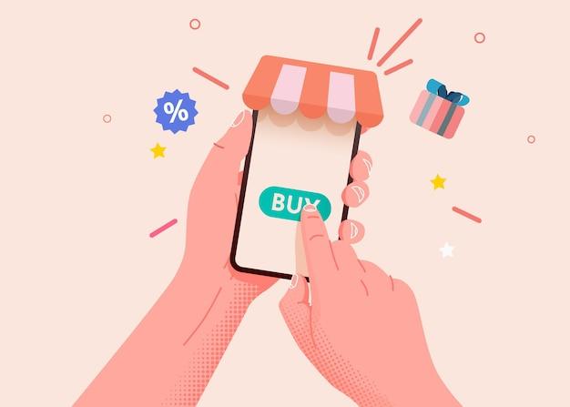 Main tenant un téléphone intelligent mobile avec concept de magasinage en ligne app shopp