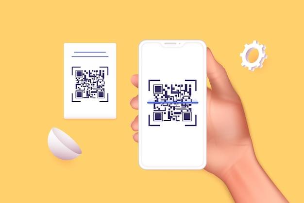 Main tenant un téléphone intelligent mobile avec scan qr code. numérisation du code qr et paiement en ligne, transfert d'argent. électronique, technologie numérique, code à barres. illustration vectorielle.