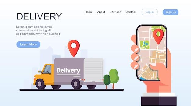 Main tenant un téléphone intelligent mobile avec suivi de la livraison de l'application.