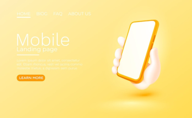 Main tenant un téléphone intelligent mobile avec un vecteur de maquette moderne à écran blanc