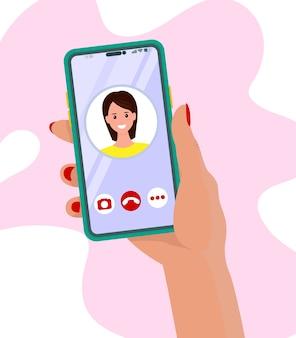 Main tenant un téléphone mobile avec appel