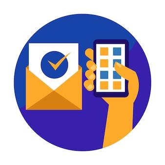 Main tenant le téléphone portable et recevoir un email confirmable.