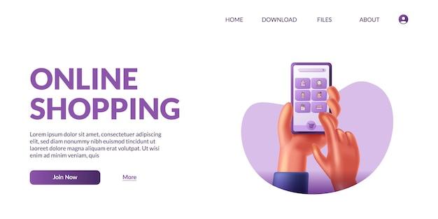 Main tenant et touchez un téléphone intelligent mobile mignon 3d avec le commerce électronique de l'application de la boutique. concept d'illustration de magasinage en ligne avec l'icône 3d.