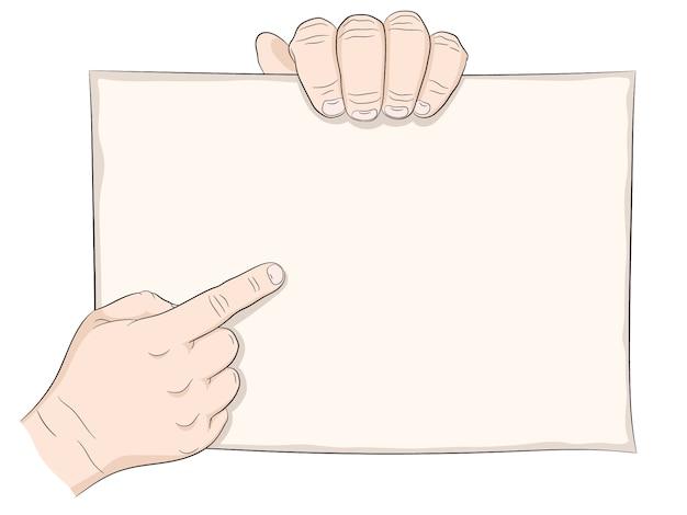 Main tenir l'affiche ou une pancarte.