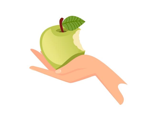 Main tenir l'illustration de vecteur plat pomme mordue verte isolée sur fond blanc.