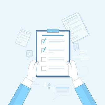 Main tenir la liste de vérification papier document vector illustration