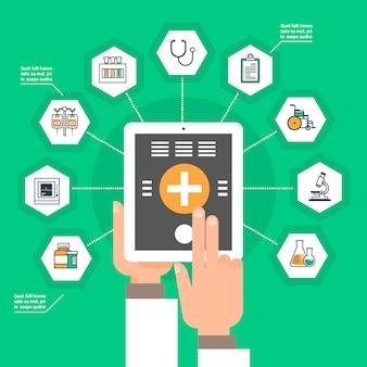 Main tenir la tablette numérique avec des icônes de médecine d'application médicale con de traitement en ligne de réseau social