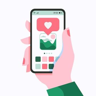 Main tenir le téléphone intelligent avec une notification à plat