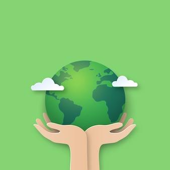 Main, tenue, earth., papier, coupe, de, monde, environnement, fond