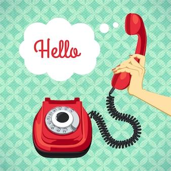 Main, tenue, vieux, téléphone, rétro, affiche, vecteur, illustration