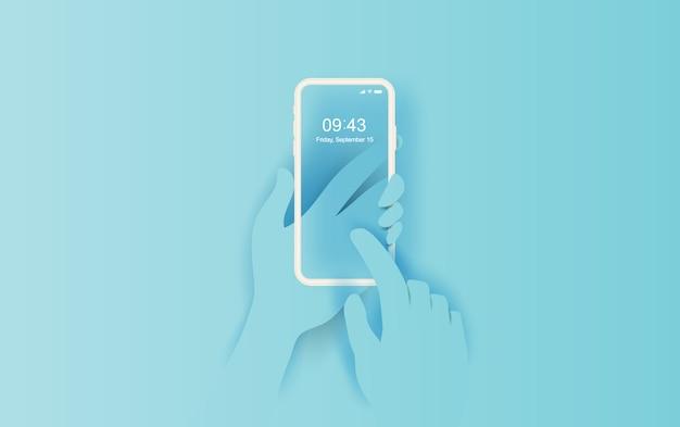 Main tient le smartphone avec application vide.