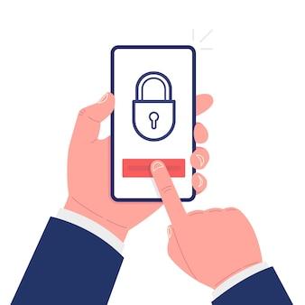 Une main tient un smartphone et l'autre touche l'écran. concept de sécurité mobile. illustration vectorielle.