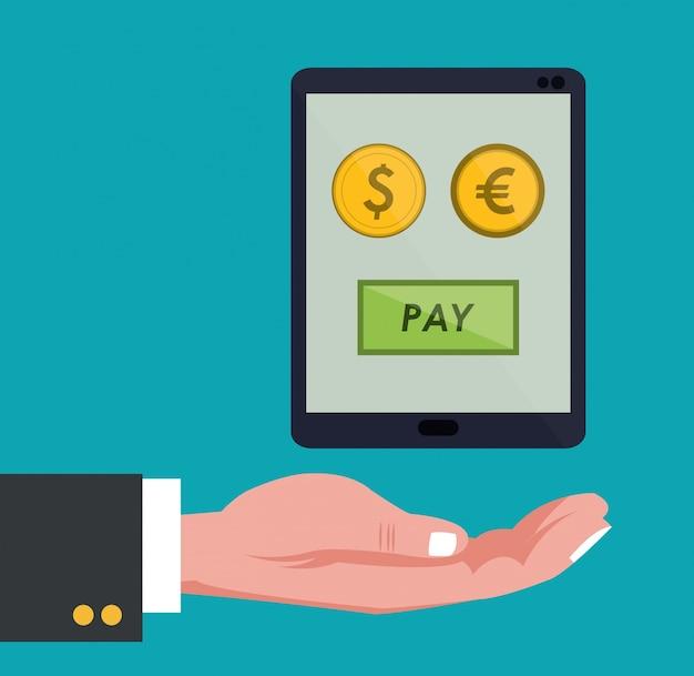 Main tient le smartphone paiement global pièces en euros