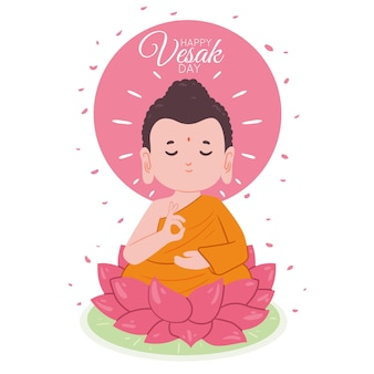 Main traditionnelle heureuse vesak dessiné à la main
