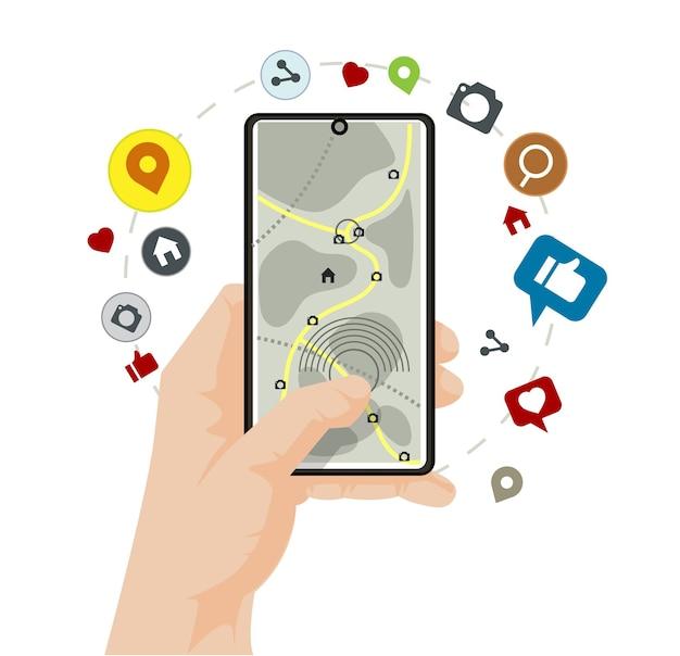 Main utilisant un smartphone avec navigation gps et icônes de médias sociaux