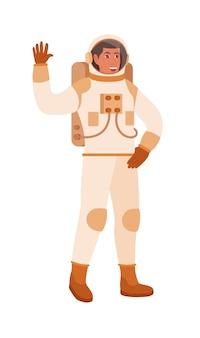 Main de vague de cosmonaute d'homme avec le support de geste de salutation sur le blanc