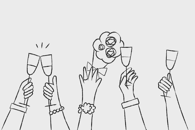 Main de vecteur de célébration de mariage tenant des boissons
