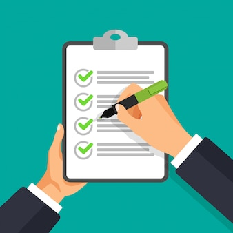 Main de vecteur avec stylo écrit sur une liste de contrôle. homme d'affaires signe le document.