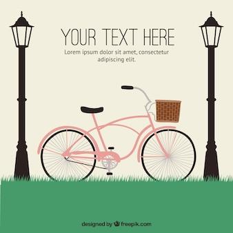 Main vélo dessiné avec des lampadaires fond